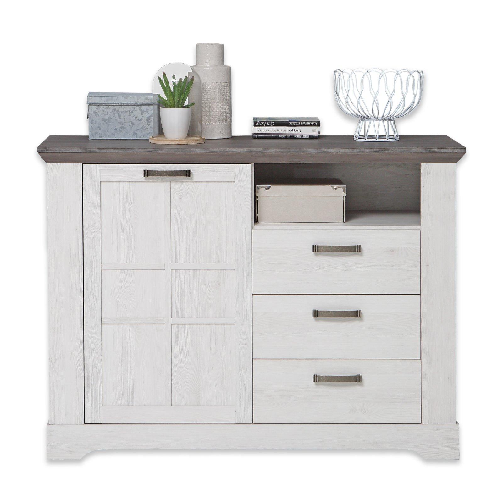 kommode gasparo schneeeiche pinie grau 125 cm breit kommoden sideboards m bel. Black Bedroom Furniture Sets. Home Design Ideas