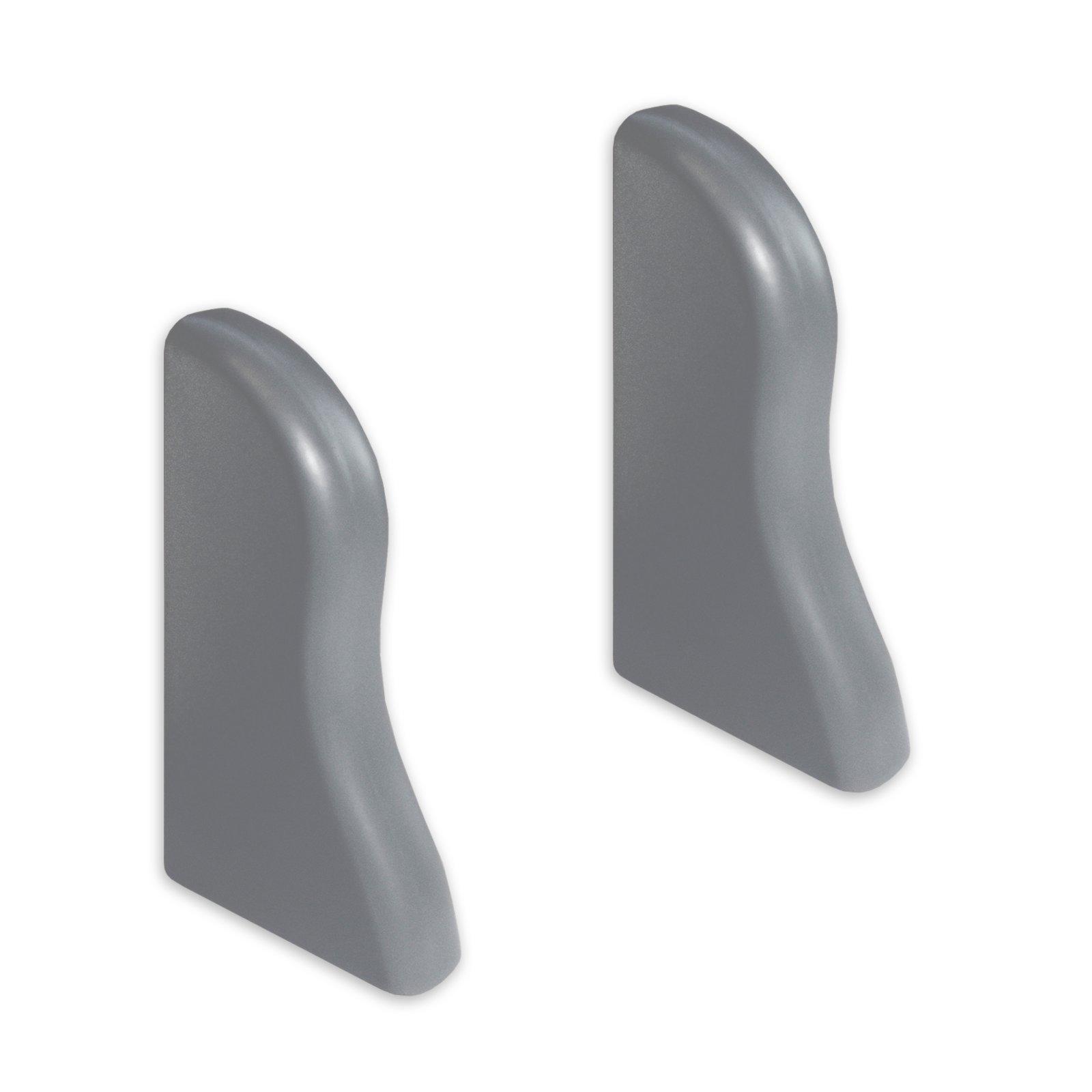 2 Endkappen K40 - silber dunkel - für Sockelleisten - 40x22 mm