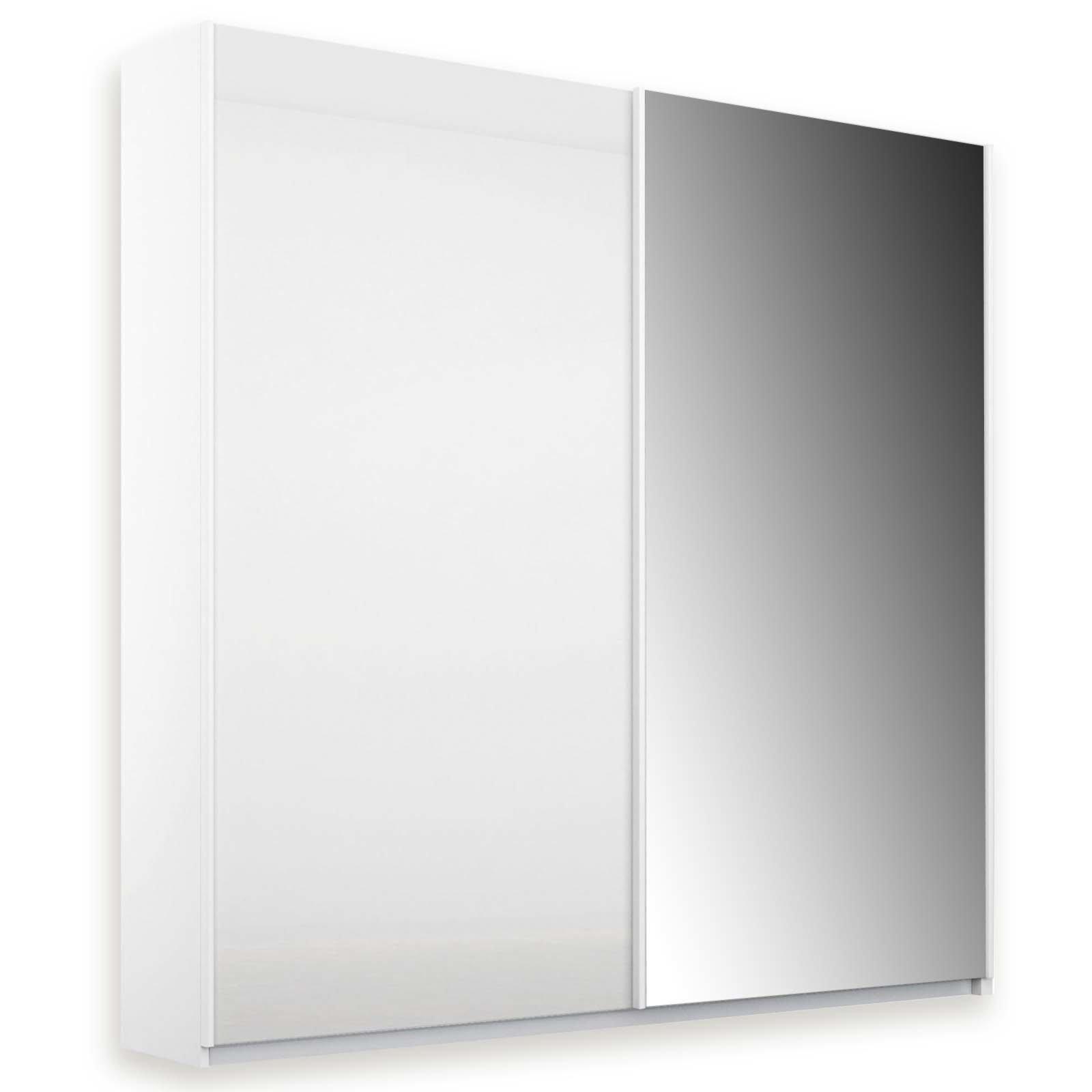 Schwebeturenschrank Glas Weiss Mit Spiegel