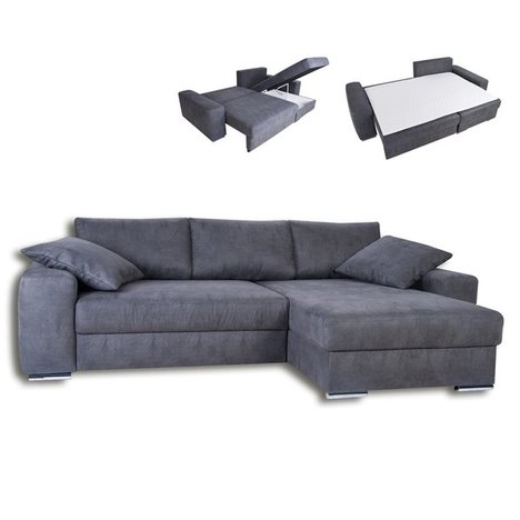 Boxspring ecksofa grau liegefunktion ecksofas l form for Couch l form grau
