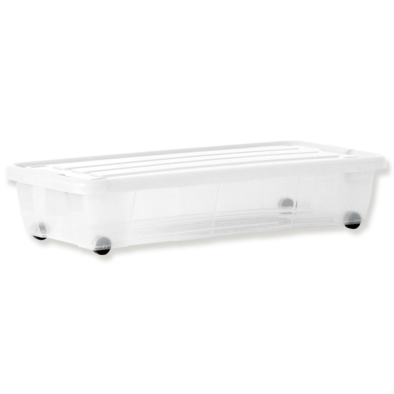 unterbettkommode transparent auf rollen 34 liter unterbettkommoden boxen k rbe