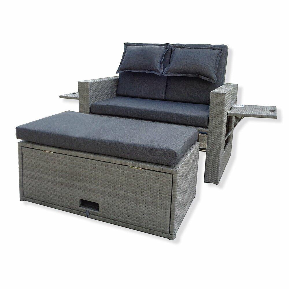 gartensofa ibiza grau rattanoptik mit hocker. Black Bedroom Furniture Sets. Home Design Ideas