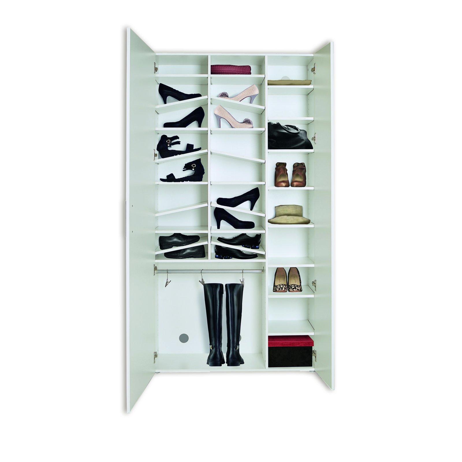 roller schuhschrank yvonne wei 28 f cher spiegelt r. Black Bedroom Furniture Sets. Home Design Ideas
