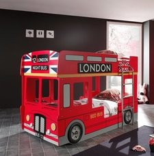 Etagenbett LONDON BUS - rot - 2x 90x200 cm
