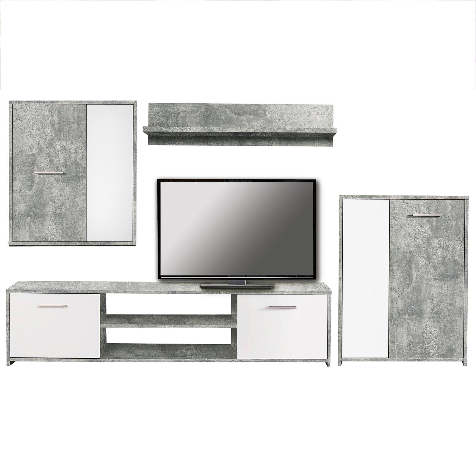 set paco wohnwand beton optik wei 4 teilig wohnw nde m bel roller m belhaus. Black Bedroom Furniture Sets. Home Design Ideas