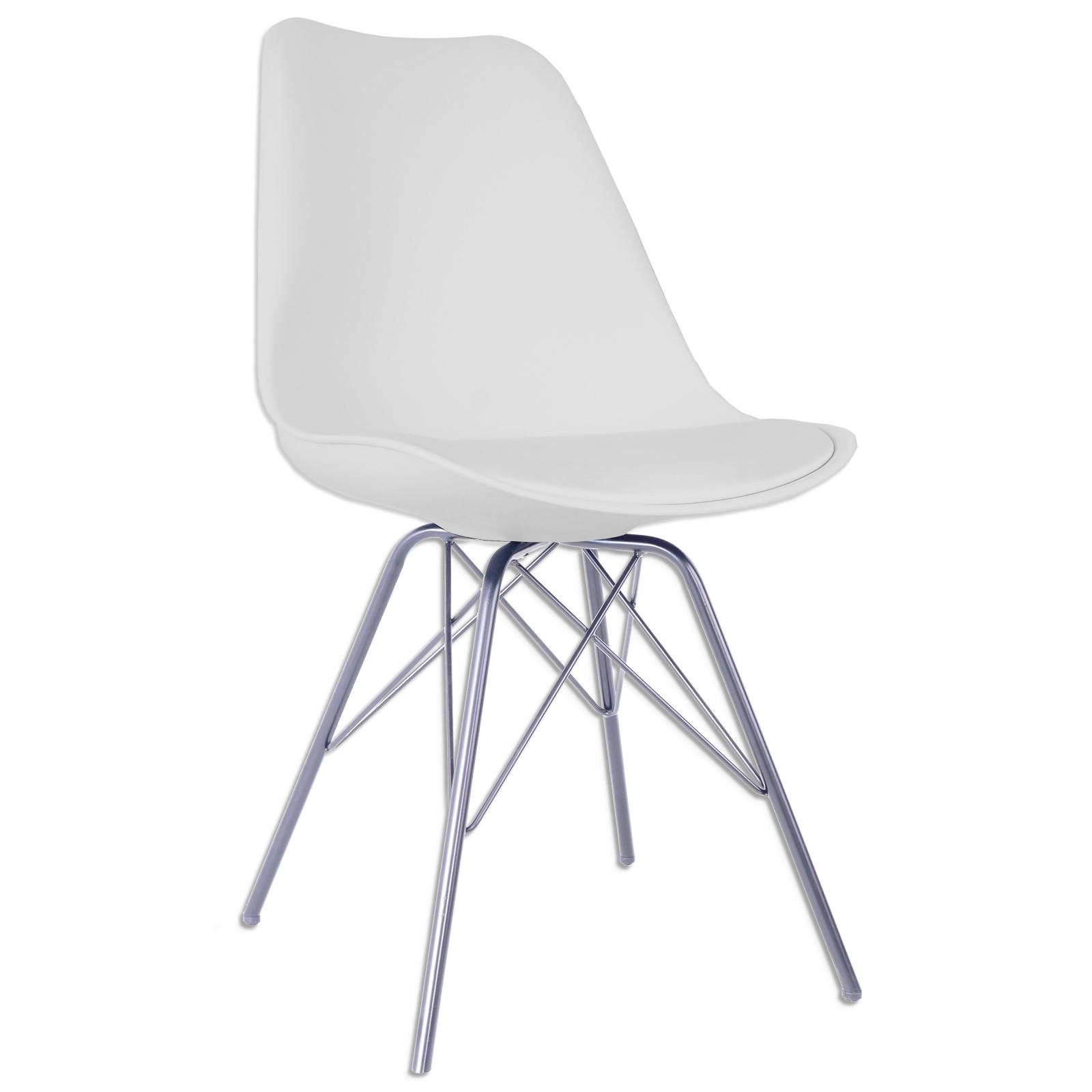 Stuhl weiß Chrom Kunstleder