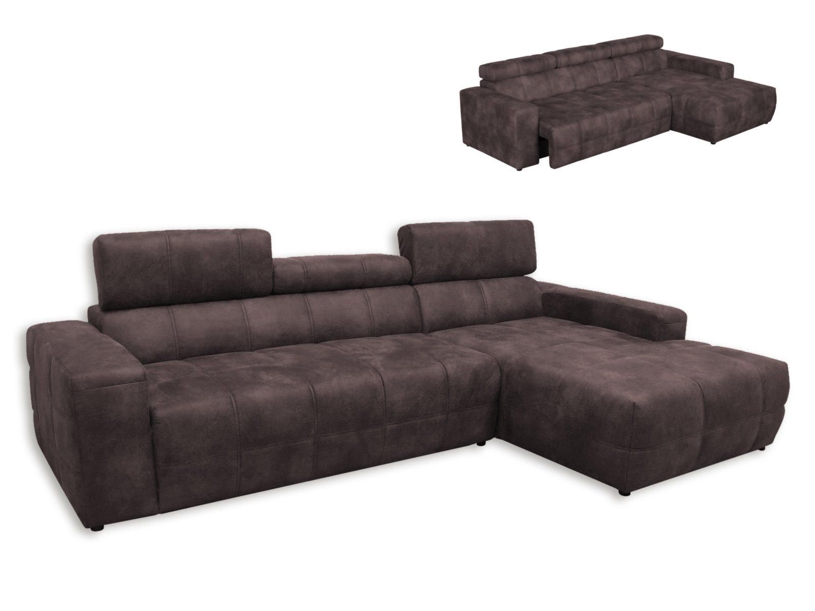 ecksofa dunkelbraun recamiere rechts mit kopfteil. Black Bedroom Furniture Sets. Home Design Ideas