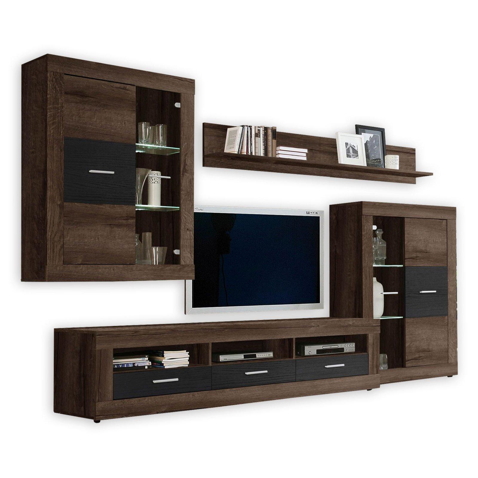 wohnwand gaucho schlammeiche schwarzeiche 307 cm breit wohnw nde wohnw nde m bel roller. Black Bedroom Furniture Sets. Home Design Ideas