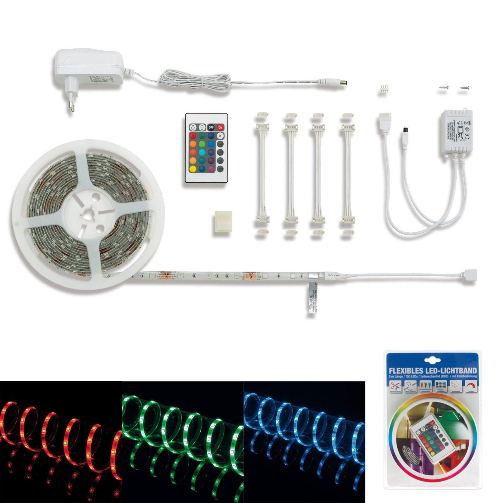 led lichtband 16 farben mit fernbedienung 5 meter wohnwand zubeh r wohnzimmer. Black Bedroom Furniture Sets. Home Design Ideas
