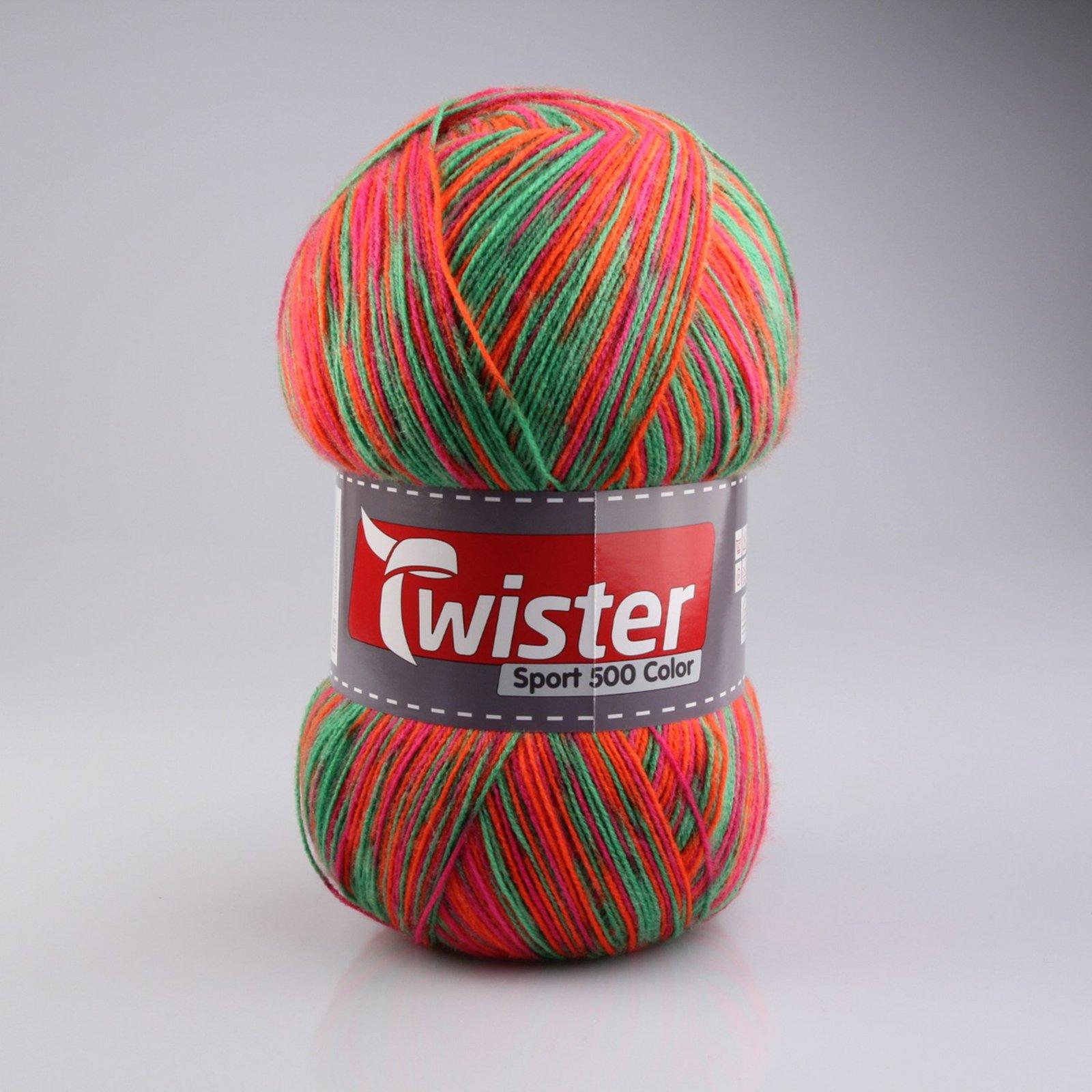 Wolle TWISTER SPORT 500 C - gelb-pink-grün-orange - 500g