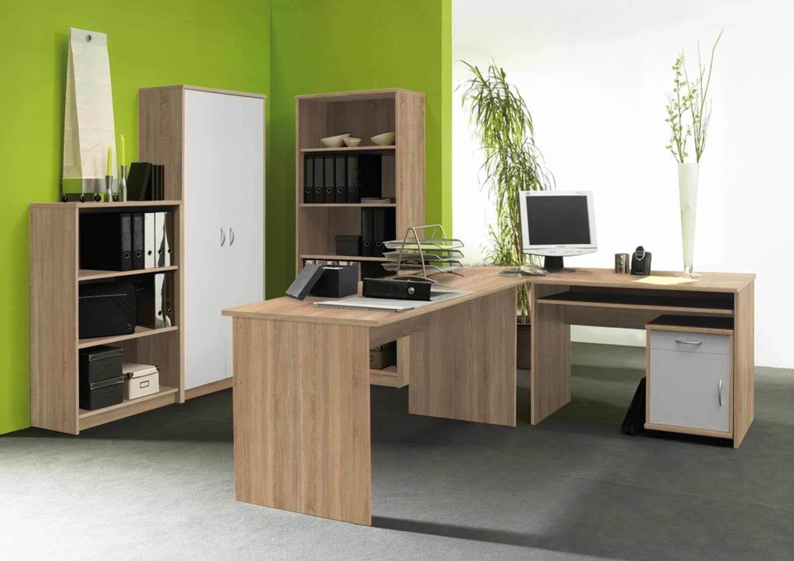Buromobel Set Office Compact Sonoma Eiche Weiss Buro