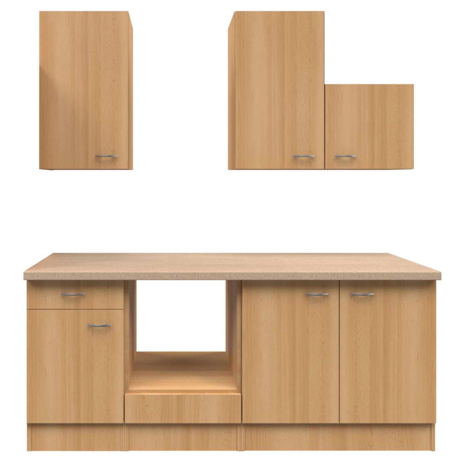 k chenblock nano buche 210 cm k chenzeilen ohne e. Black Bedroom Furniture Sets. Home Design Ideas