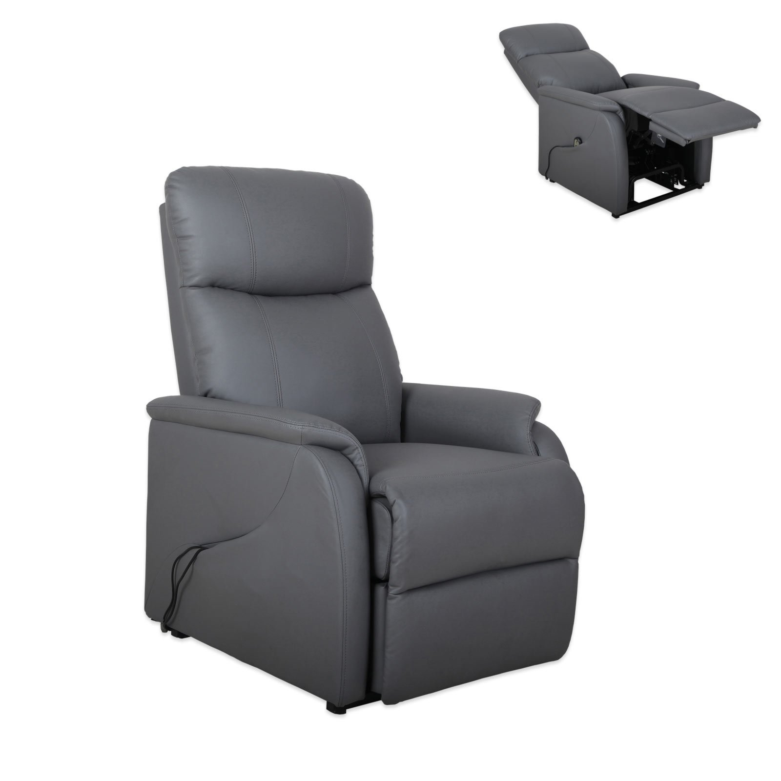 relaxsessel grau kunstleder elektronische aufstehhilfe fernseh relaxsessel sessel. Black Bedroom Furniture Sets. Home Design Ideas