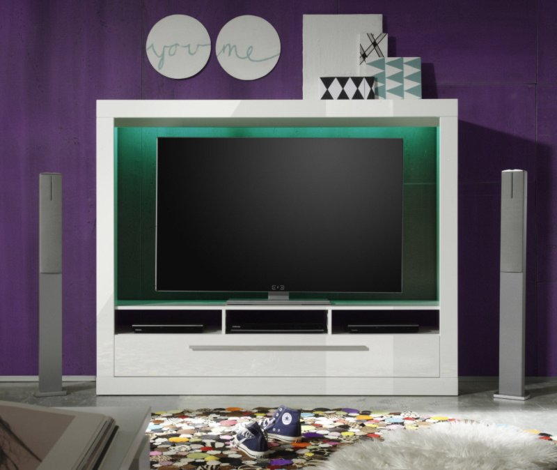 tv wand medox wei hochglanz 165x135 cm tv w nde wohnw nde m bel roller m belhaus. Black Bedroom Furniture Sets. Home Design Ideas