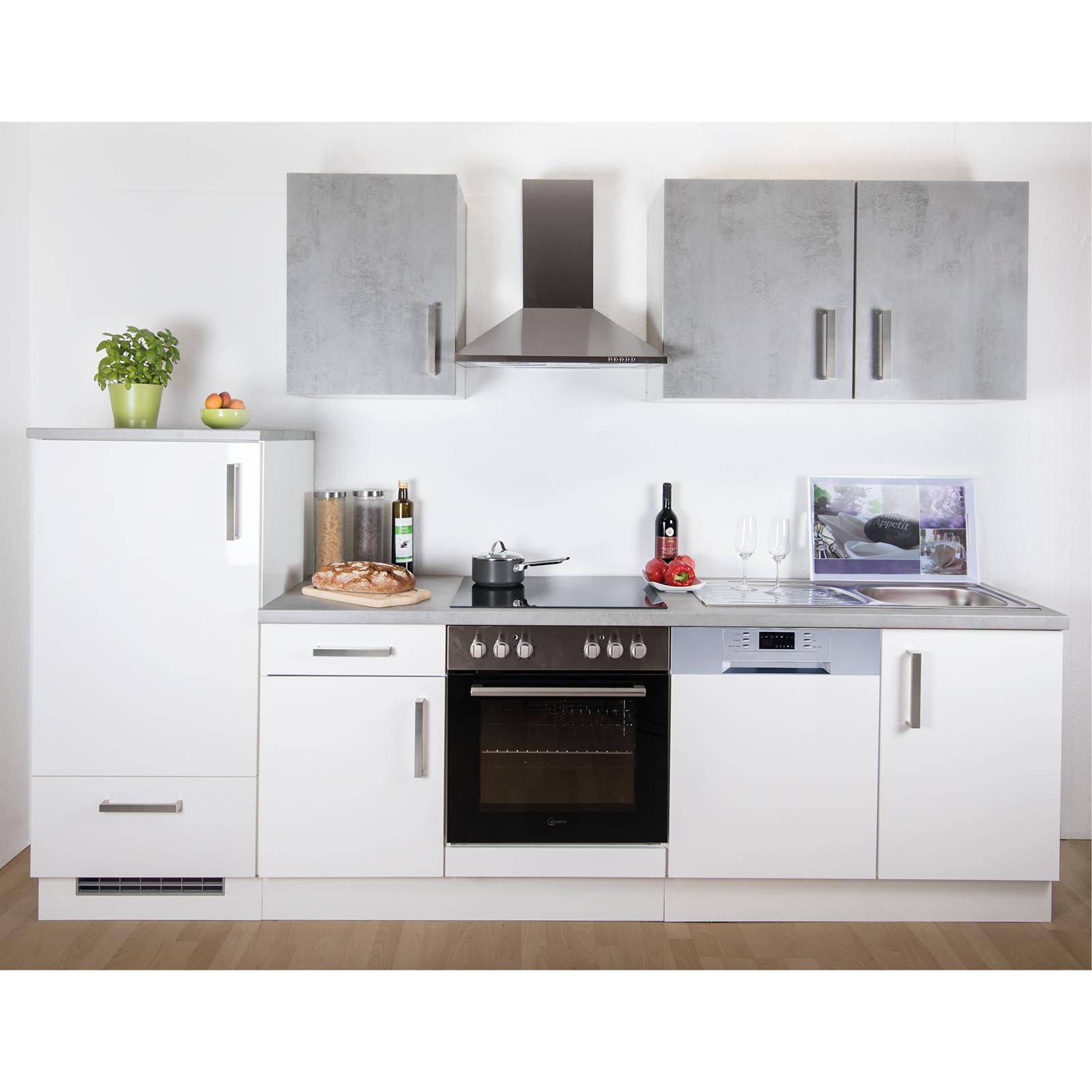 Kuchenblock Weiss Hochglanz Betonoptik 280 Cm Online Bei Roller Kaufen
