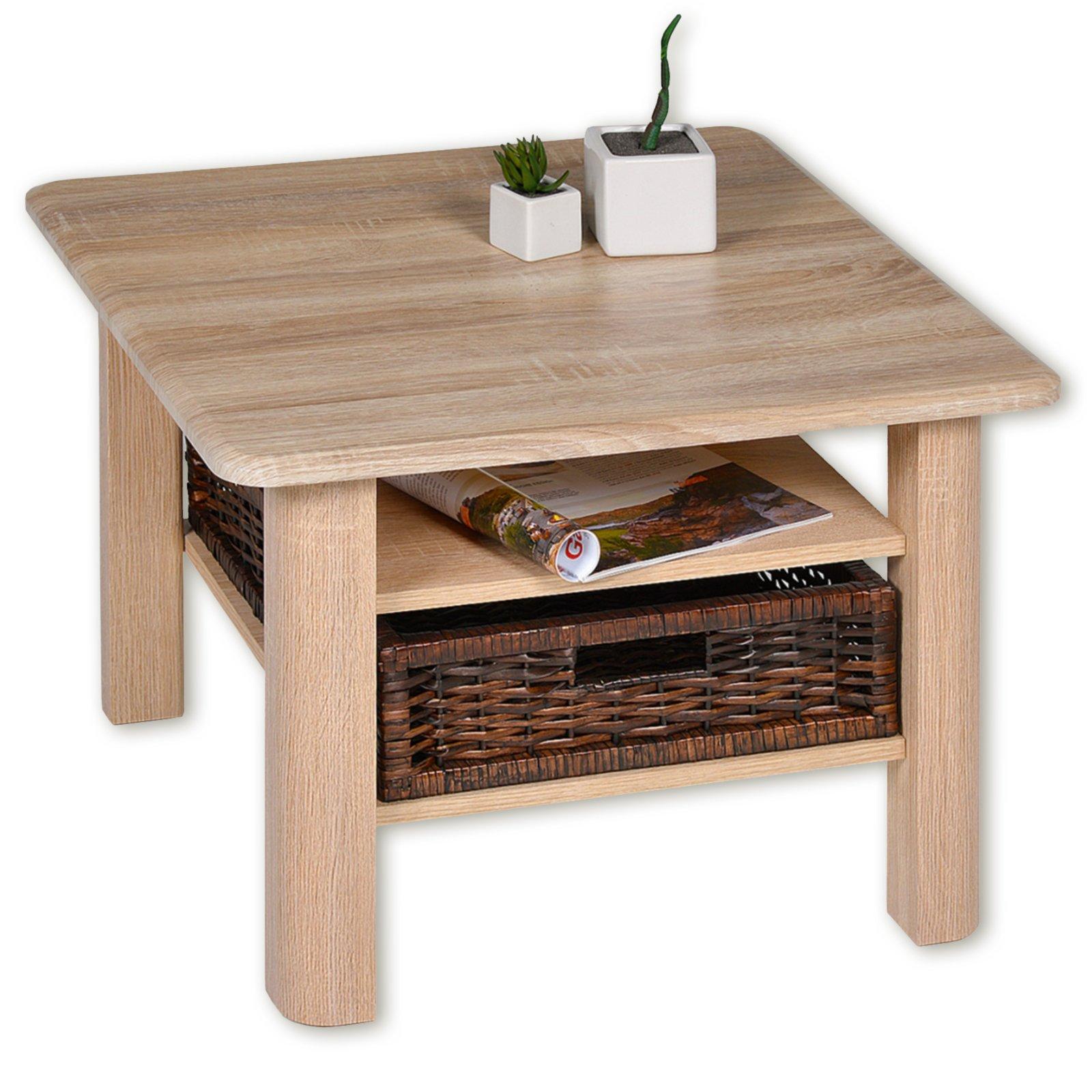 roller couchtisch memphis sonoma eiche mit flechtkorb. Black Bedroom Furniture Sets. Home Design Ideas