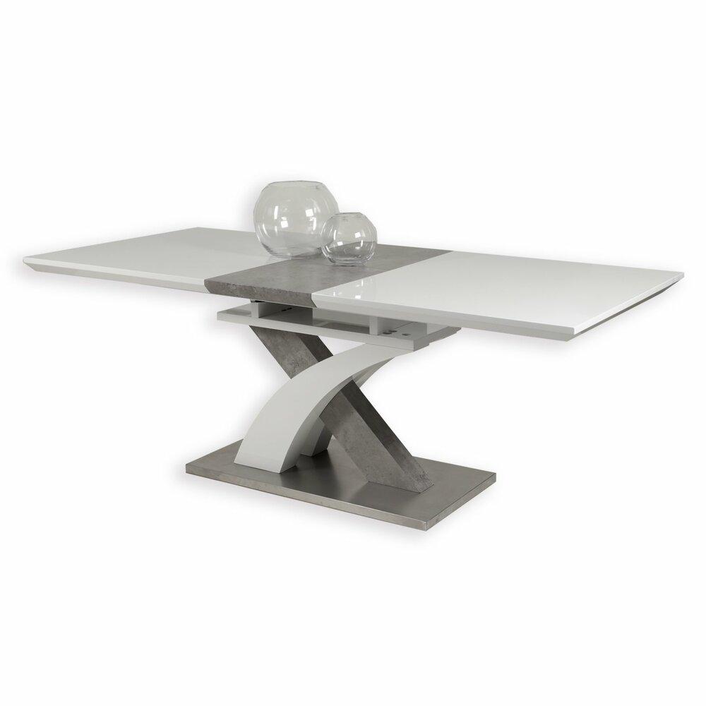 s ulentisch vivian t wei hochglanz betonoptik 160x90 cm esstische sitzen essen. Black Bedroom Furniture Sets. Home Design Ideas