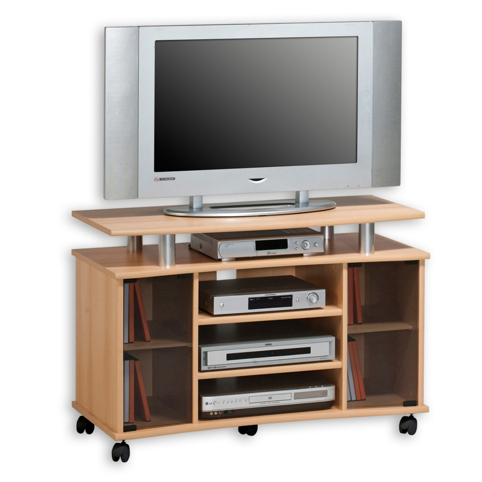 tv rack buche alu glast ren tv racks tv hifi. Black Bedroom Furniture Sets. Home Design Ideas