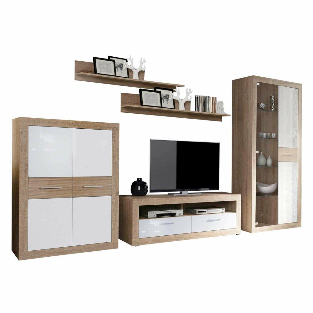 wohnwand long beach sonoma eiche wei 347 cm wohnw nde wohnw nde m bel roller. Black Bedroom Furniture Sets. Home Design Ideas