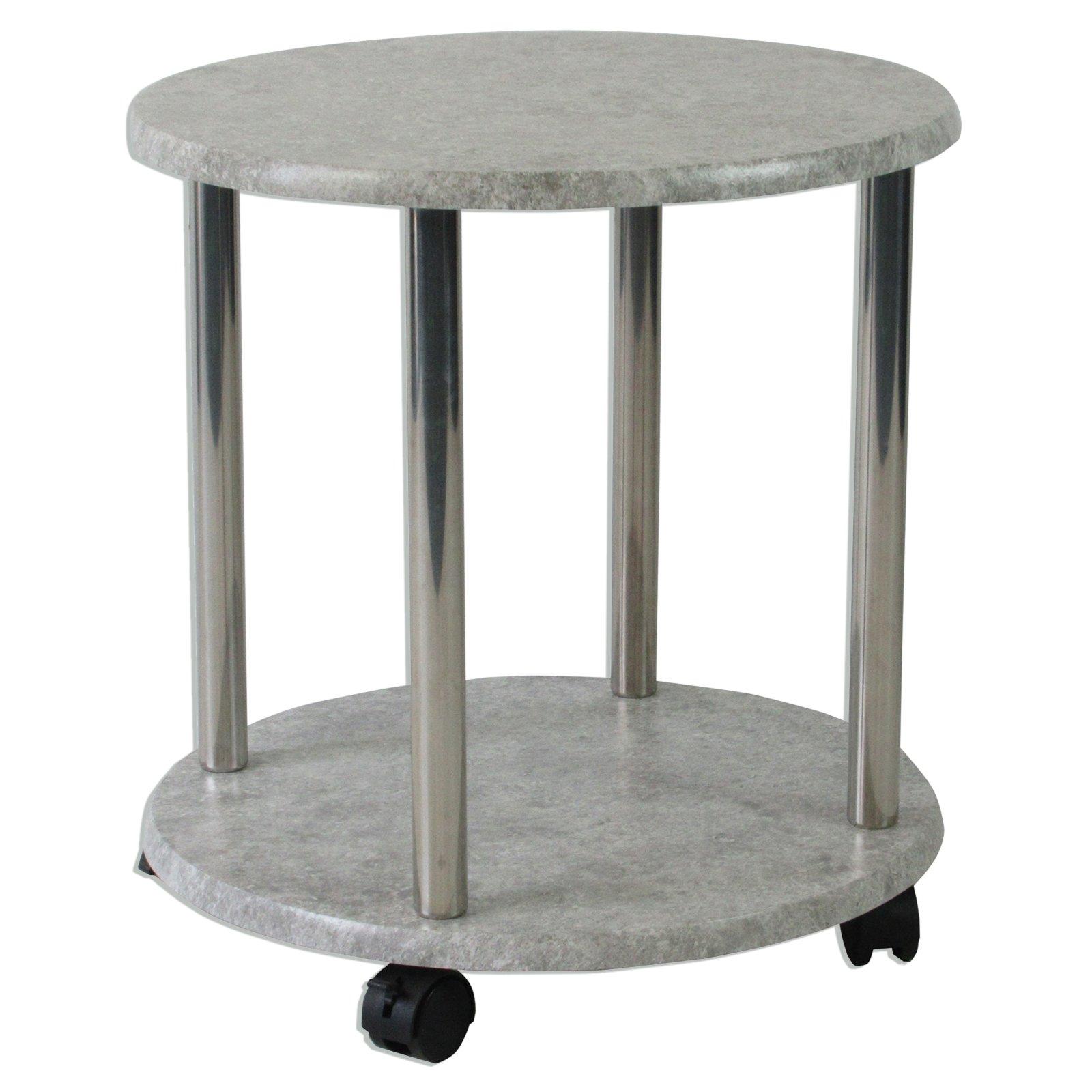 beistelltisch betonoptik auf rollen rund