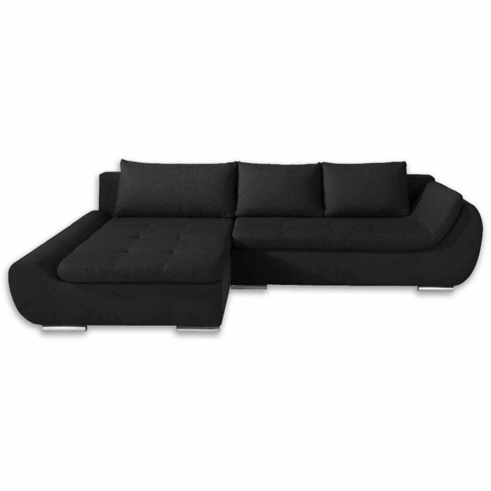 ecksofa schwarz mit funktion ottomane links ebay. Black Bedroom Furniture Sets. Home Design Ideas