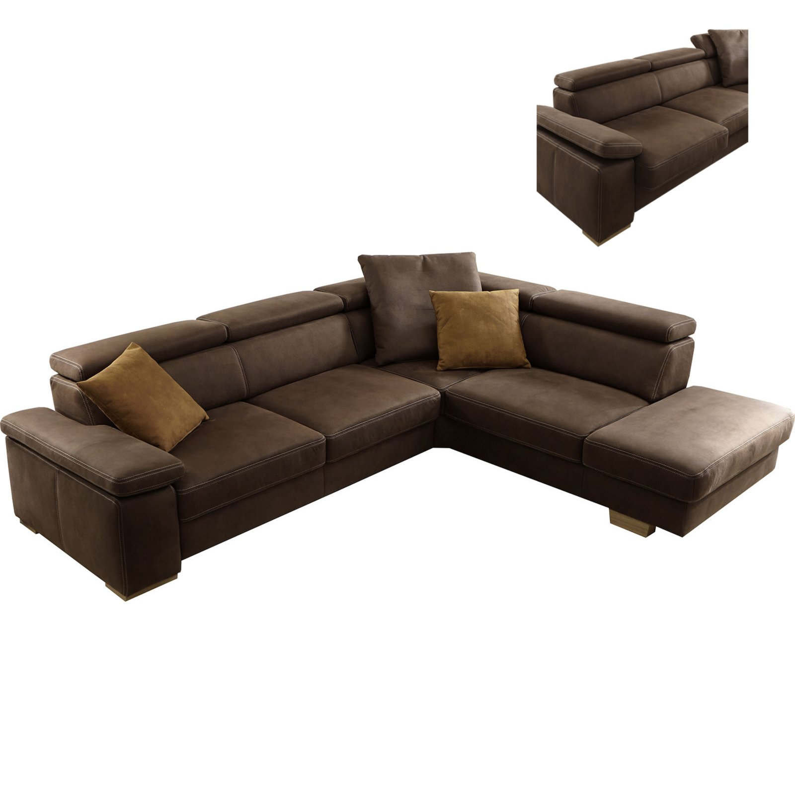 ecksofa braun mit funktionen ecksofas l form sofas couches m bel roller m belhaus. Black Bedroom Furniture Sets. Home Design Ideas