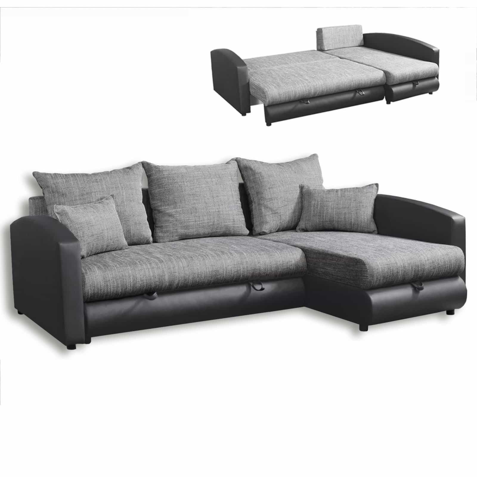 ecksofa anthrazit grau mit liegefunktion ecksofas l form sofas couches m bel. Black Bedroom Furniture Sets. Home Design Ideas