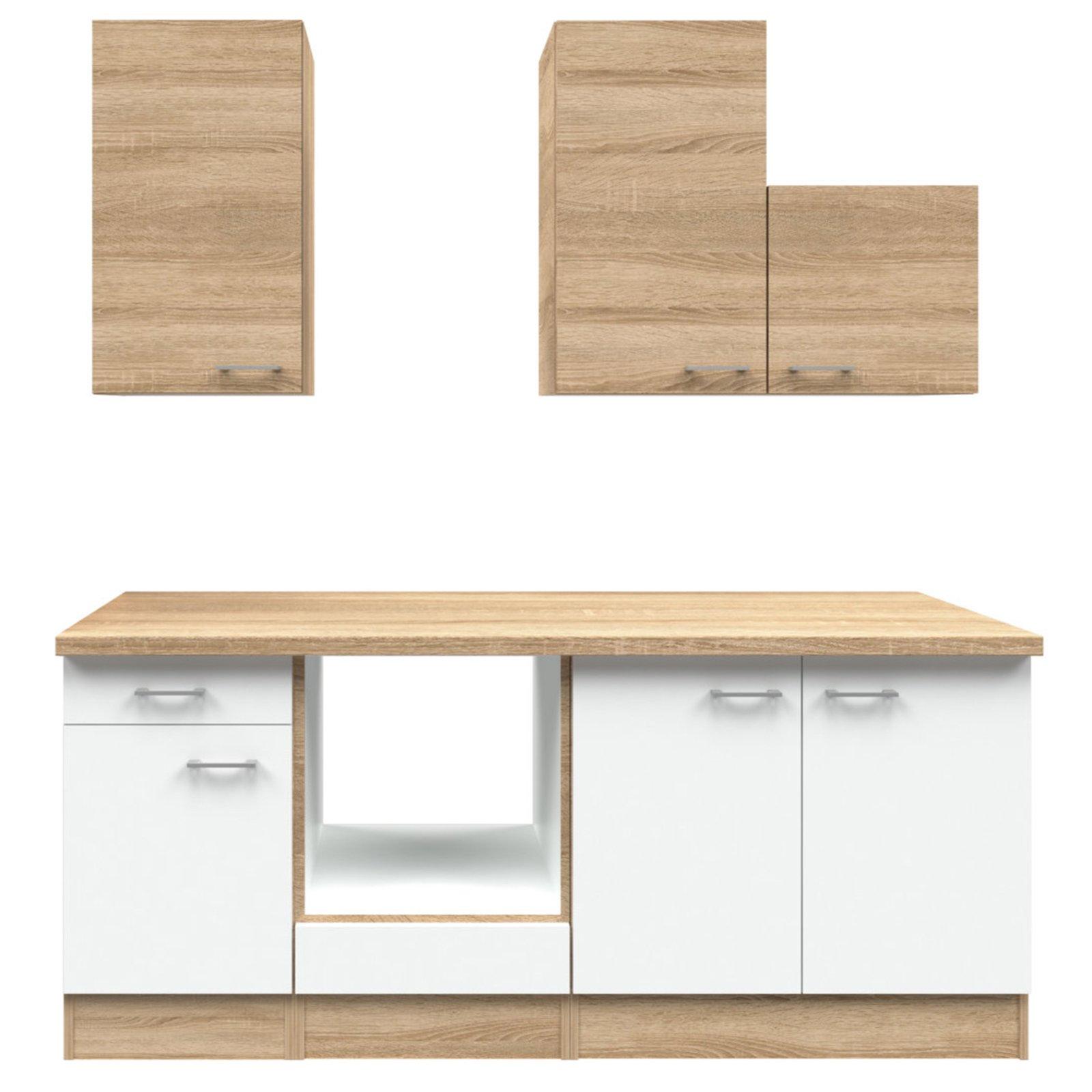 k chenblock samoa wei sonoma eiche 210 cm k chenzeilen ohne e ger te k chenzeilen. Black Bedroom Furniture Sets. Home Design Ideas
