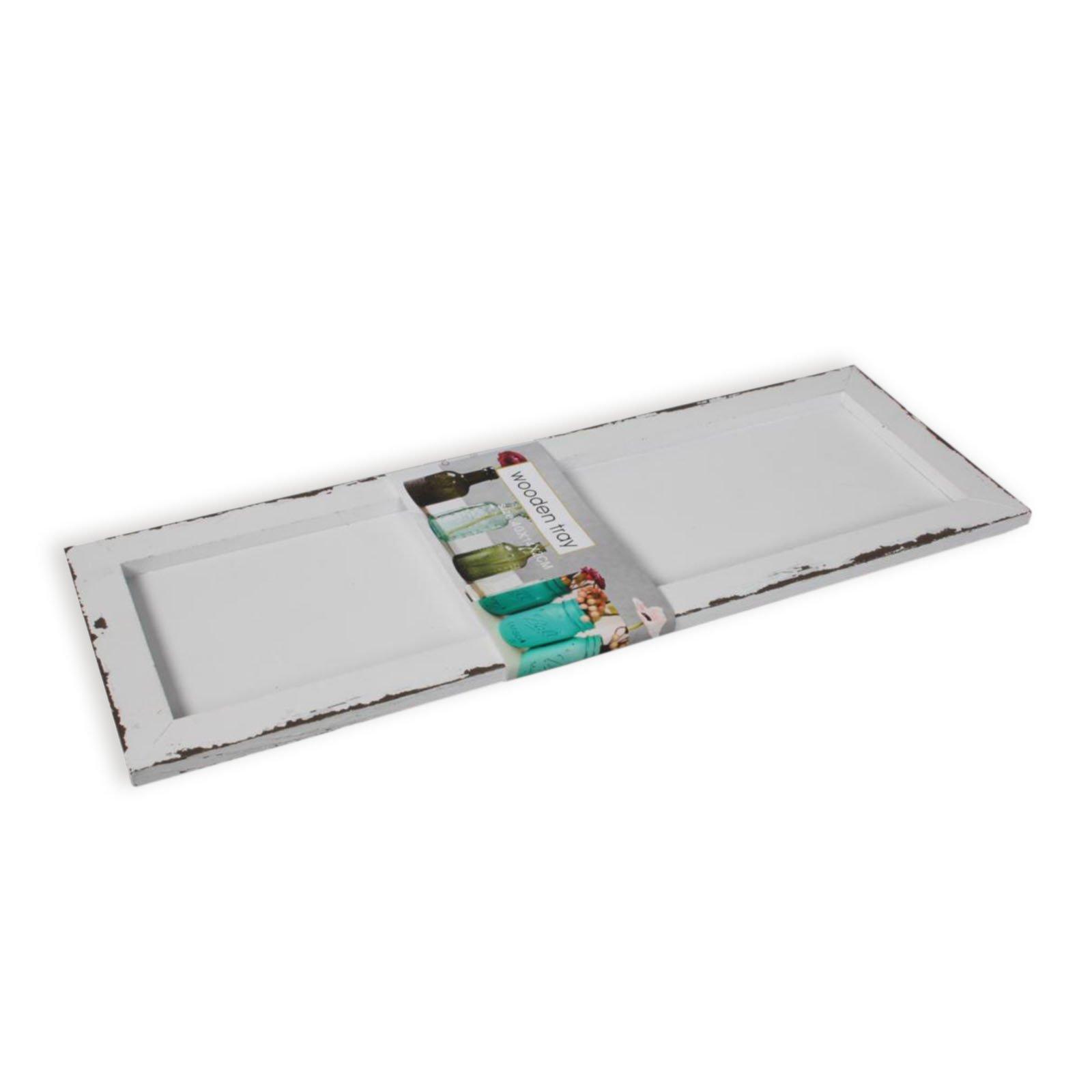 Roller deko teller wei gewischt holz 40 cm lang ebay - Roller deko ...