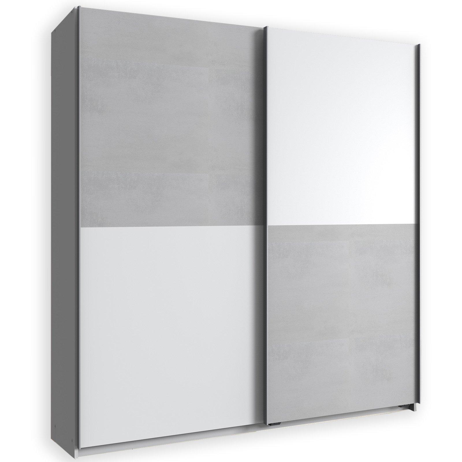 schwebetürenschrank lux - alpinweiß-betonoptik - 179 cm breit