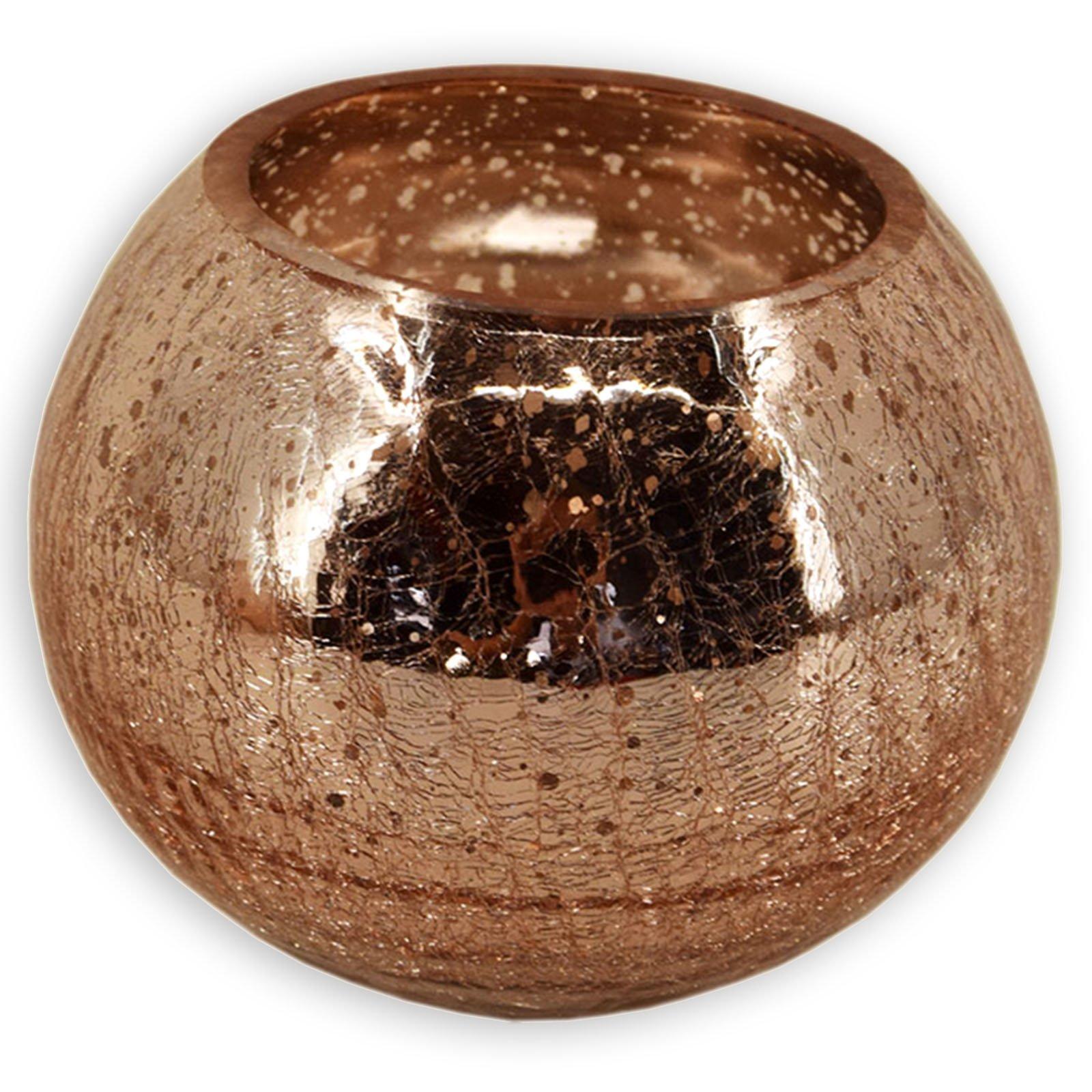 Windlichtglas - kupfer - Kugel - 20 cm