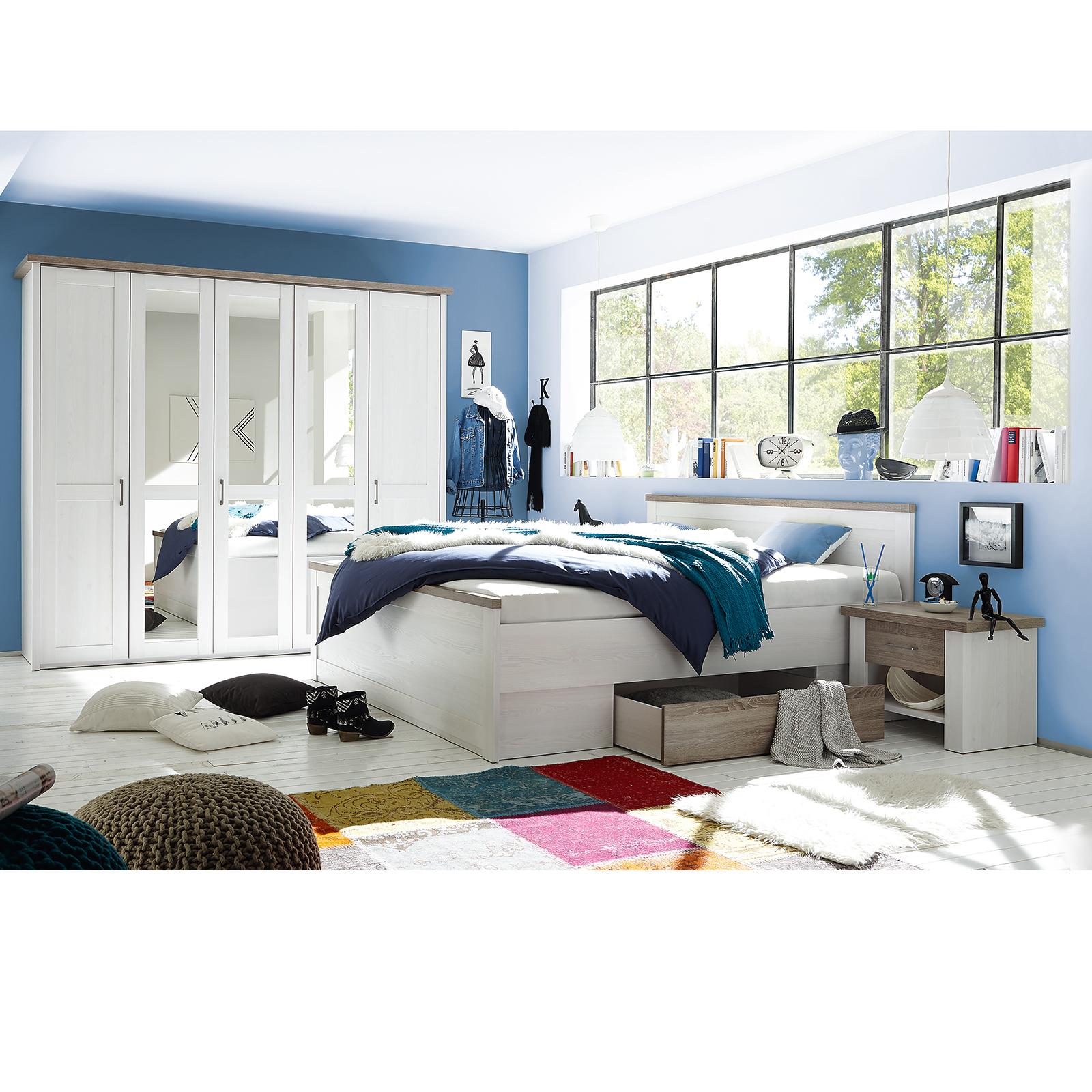 15-teiliges Schlafzimmer-Set - Pinie-weiß - Trüffel