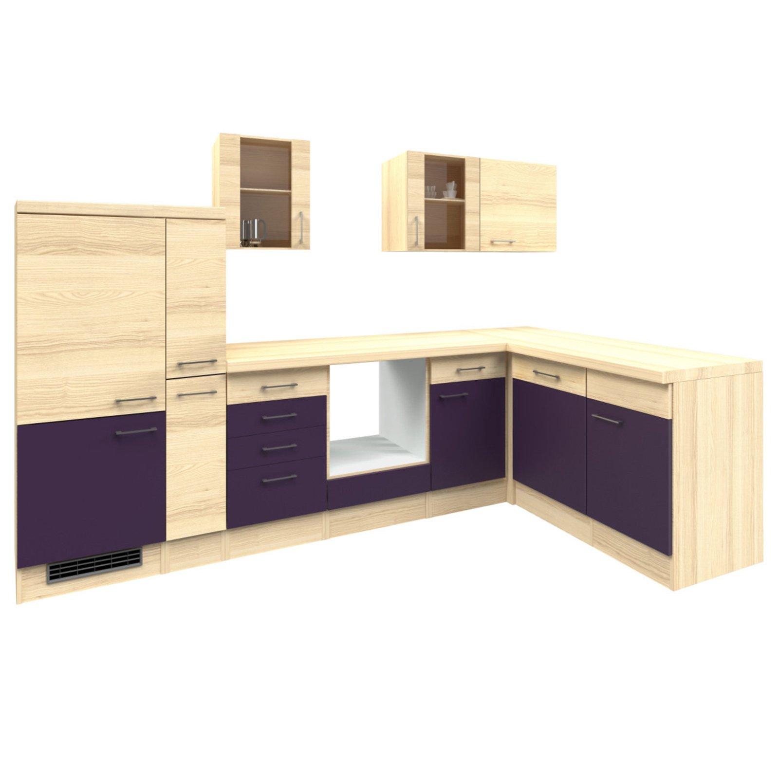 Winkelküche FOCUS - Akazie-Aubergine - 310x170 cm