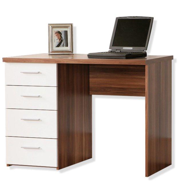 Schreibtisch rabeah walnuss wei schreibtische m bel for Schreibtisch 3 meter lang