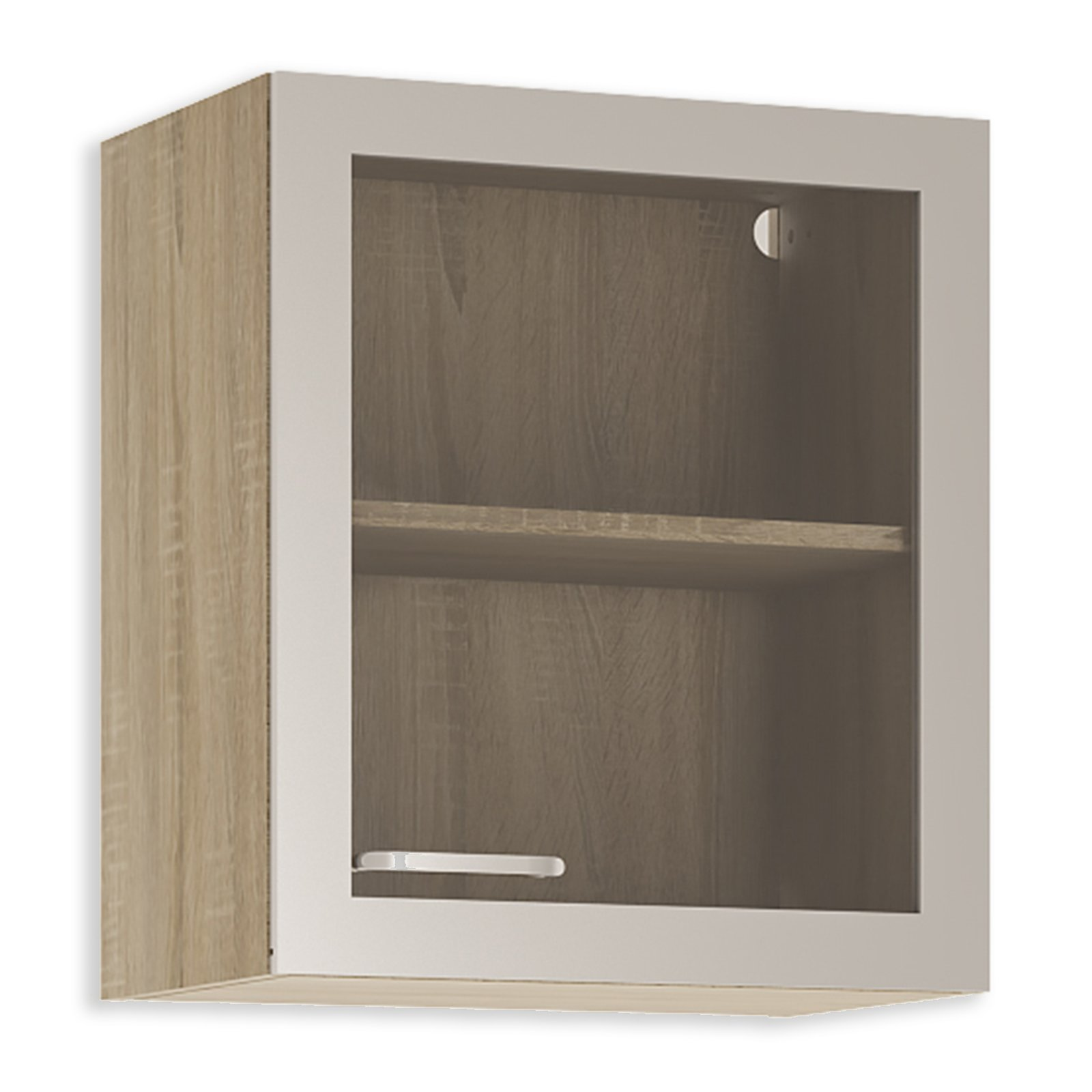 glash ngeschrank fox alu sonoma eiche 50 cm breit h ngeschr nke einzelschr nke. Black Bedroom Furniture Sets. Home Design Ideas