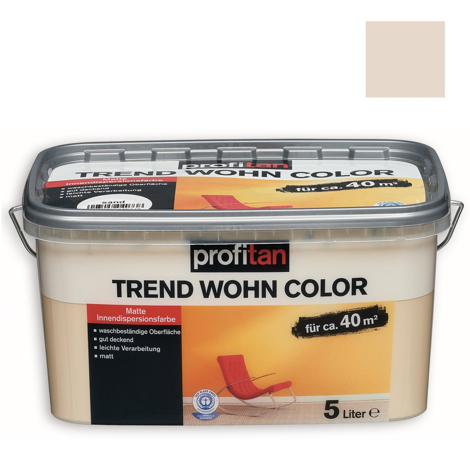 profitan wandfarbe trend wohn color mandelsplitter matt 5 liter wandfarben deckenfarben. Black Bedroom Furniture Sets. Home Design Ideas