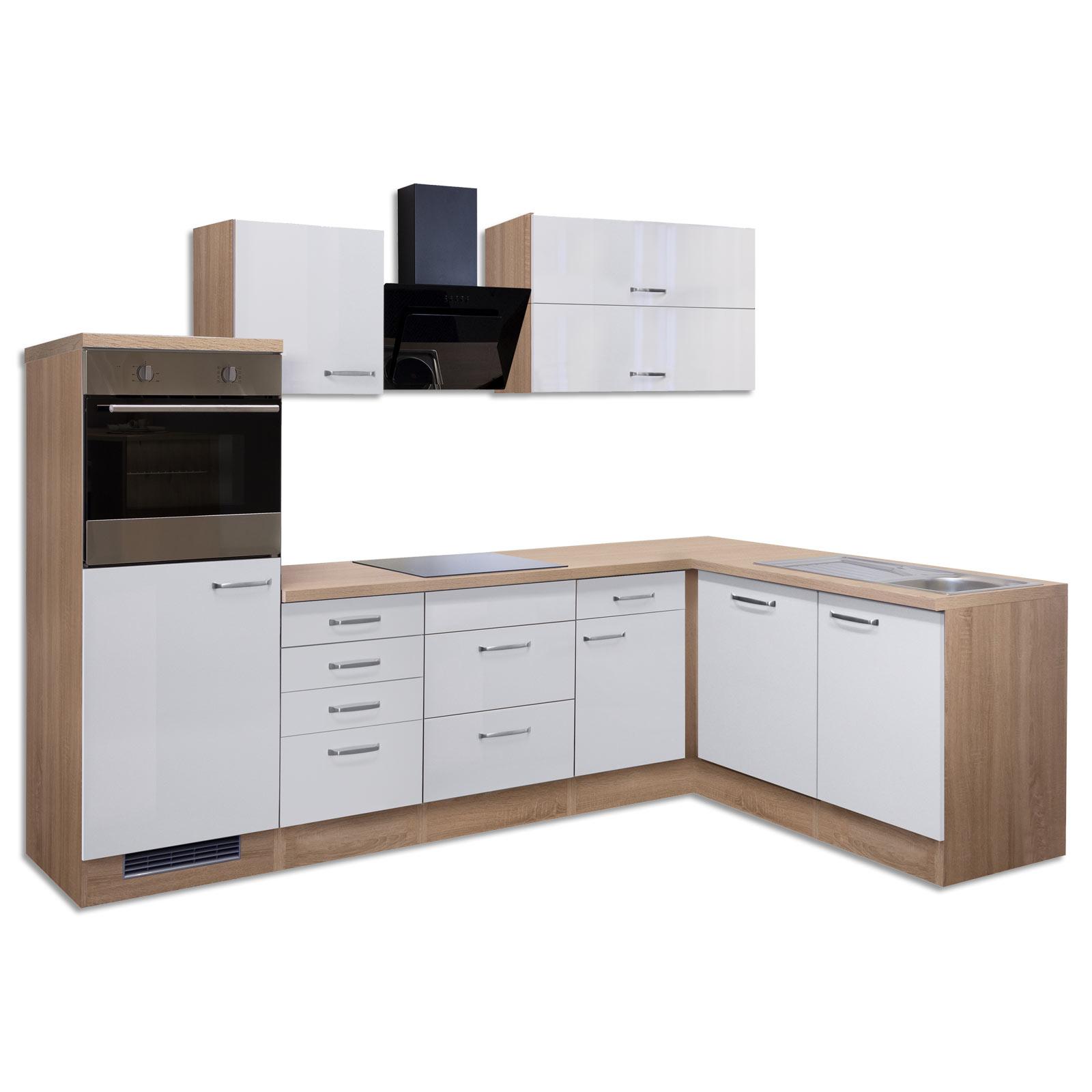 Winkelküche VALERO - weiß Hochglanz-Sonoma Eiche - mit E