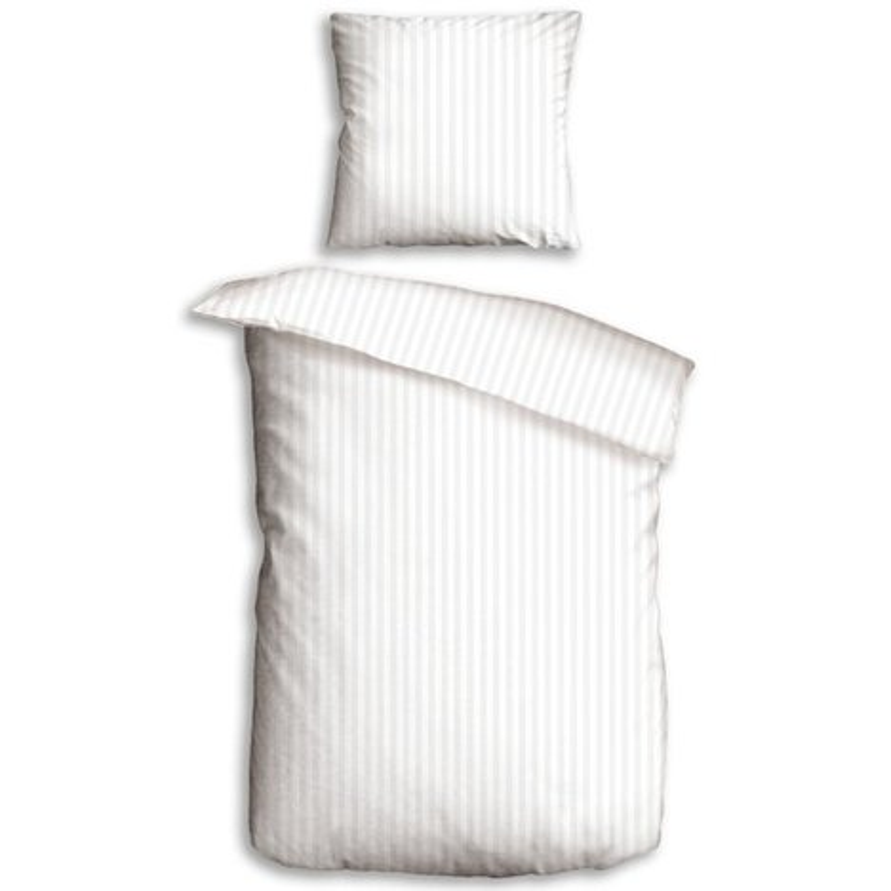 Microfaser Bettwäsche Weiß Mit Satin Streifen 135x200 Cm