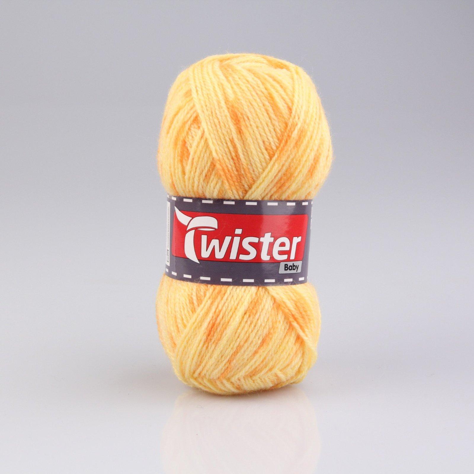 Wolle TWISTER BABY - gelb - gefleckt - 50g