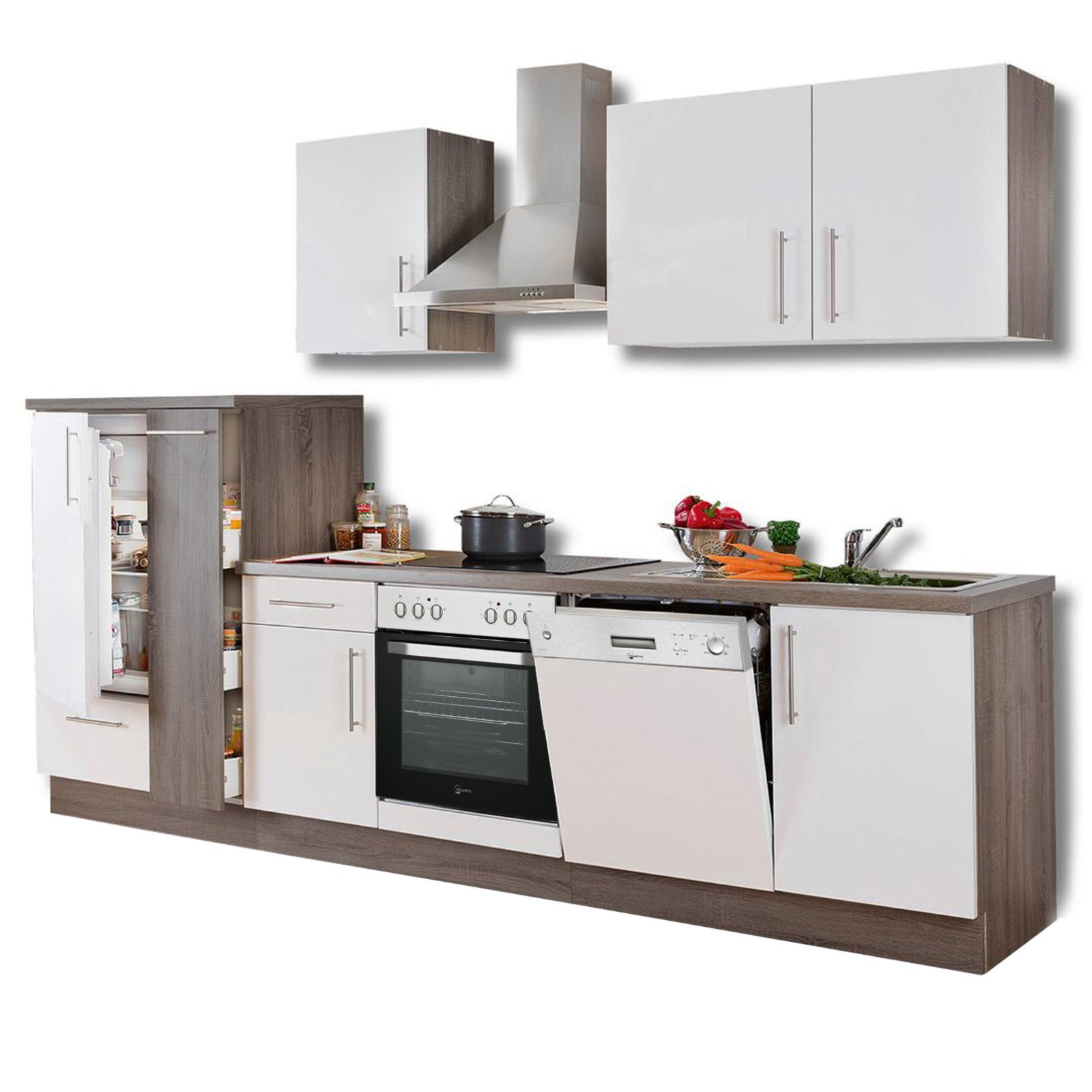 Küchenblock JULIA - weiß Hochglanz-Trüffel - mit E-Geräten ...