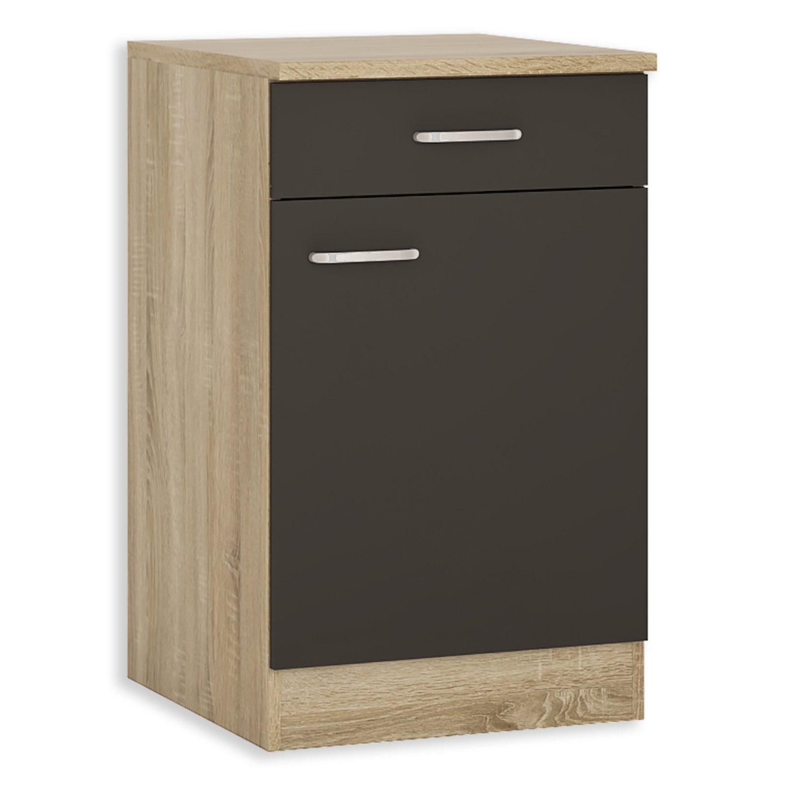 anrichte fox anthrazit sonoma eiche 50 cm breit unterschr nke einzelschr nke. Black Bedroom Furniture Sets. Home Design Ideas