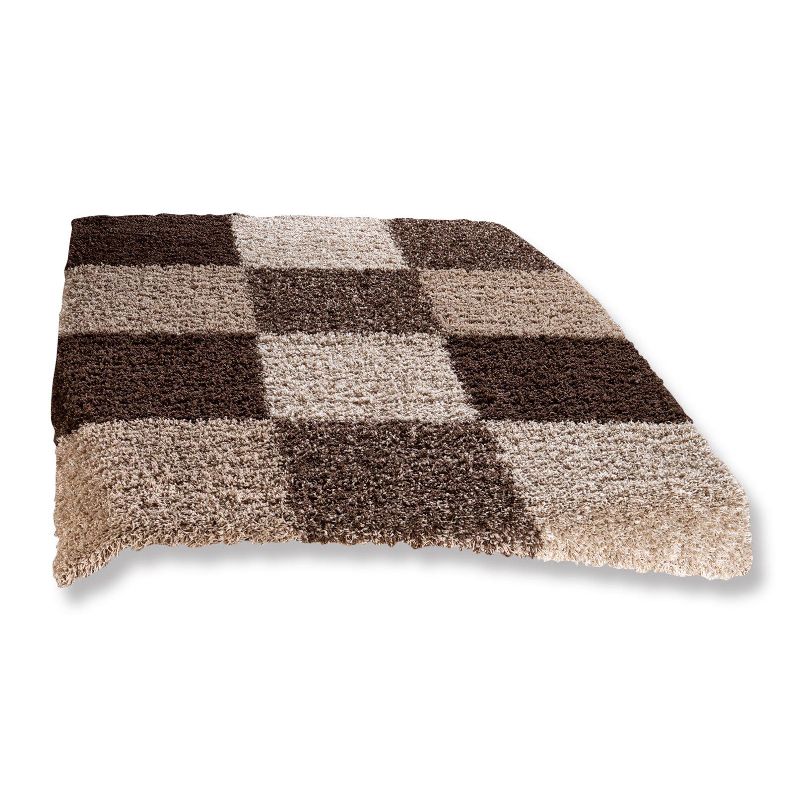teppich shaggy braun beige 80x130 cm hochflor shaggyteppiche teppiche l ufer deko. Black Bedroom Furniture Sets. Home Design Ideas