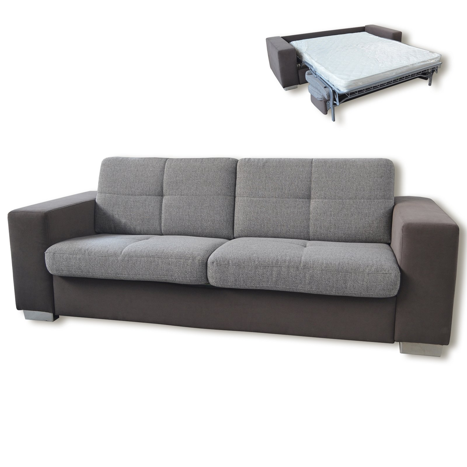 roller schlafsofa grau mit matratze ebay. Black Bedroom Furniture Sets. Home Design Ideas