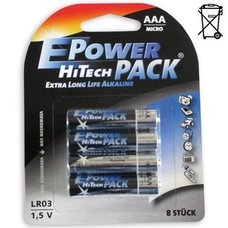 8er-Pack AAA Micro-Batterien - LR03 - HI TECH