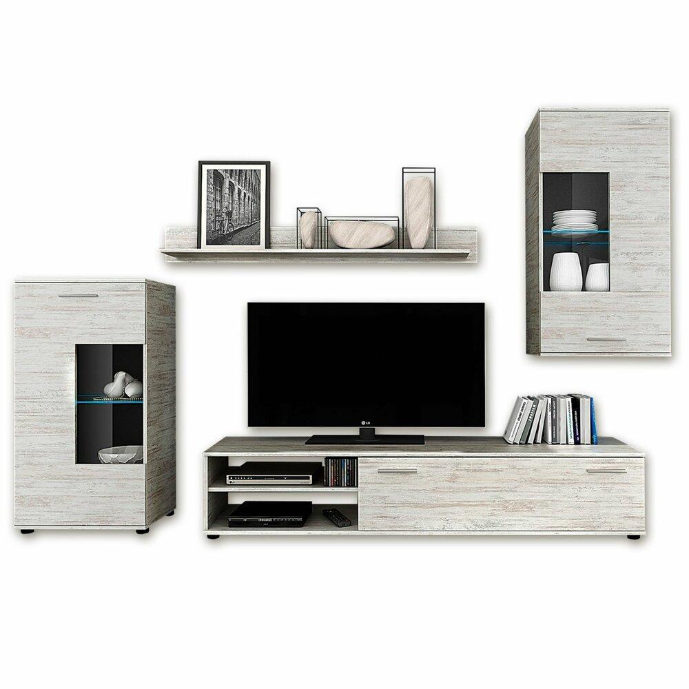 wohnwand tom canyon pinie wei 222 cm wohnw nde. Black Bedroom Furniture Sets. Home Design Ideas