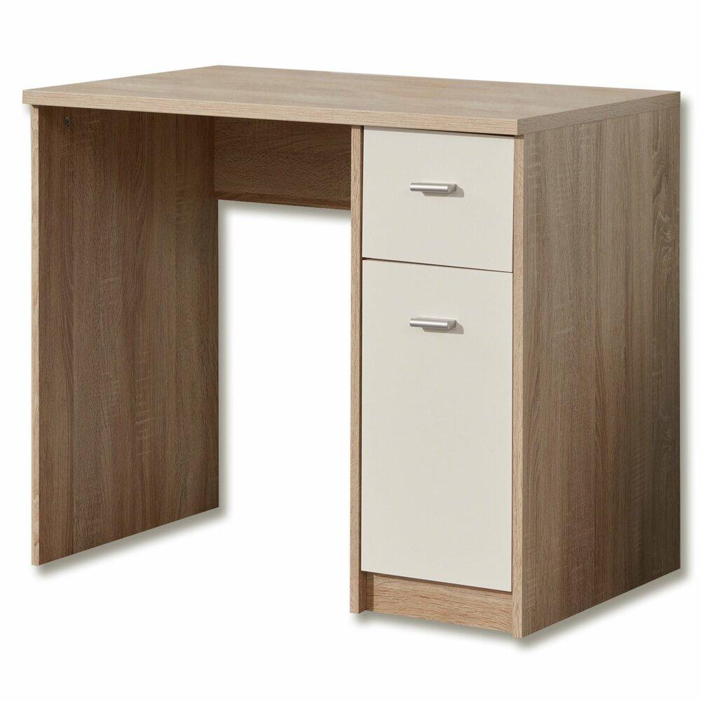schreibtisch nova eiche sonoma wei 85 cm rechteckige schreibtische schreibtische. Black Bedroom Furniture Sets. Home Design Ideas