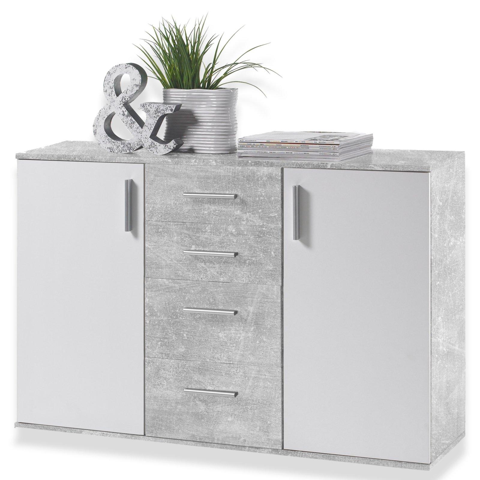 kommode bobby - weiß-beton-optik - 120x82 cm | kommoden & sideboards