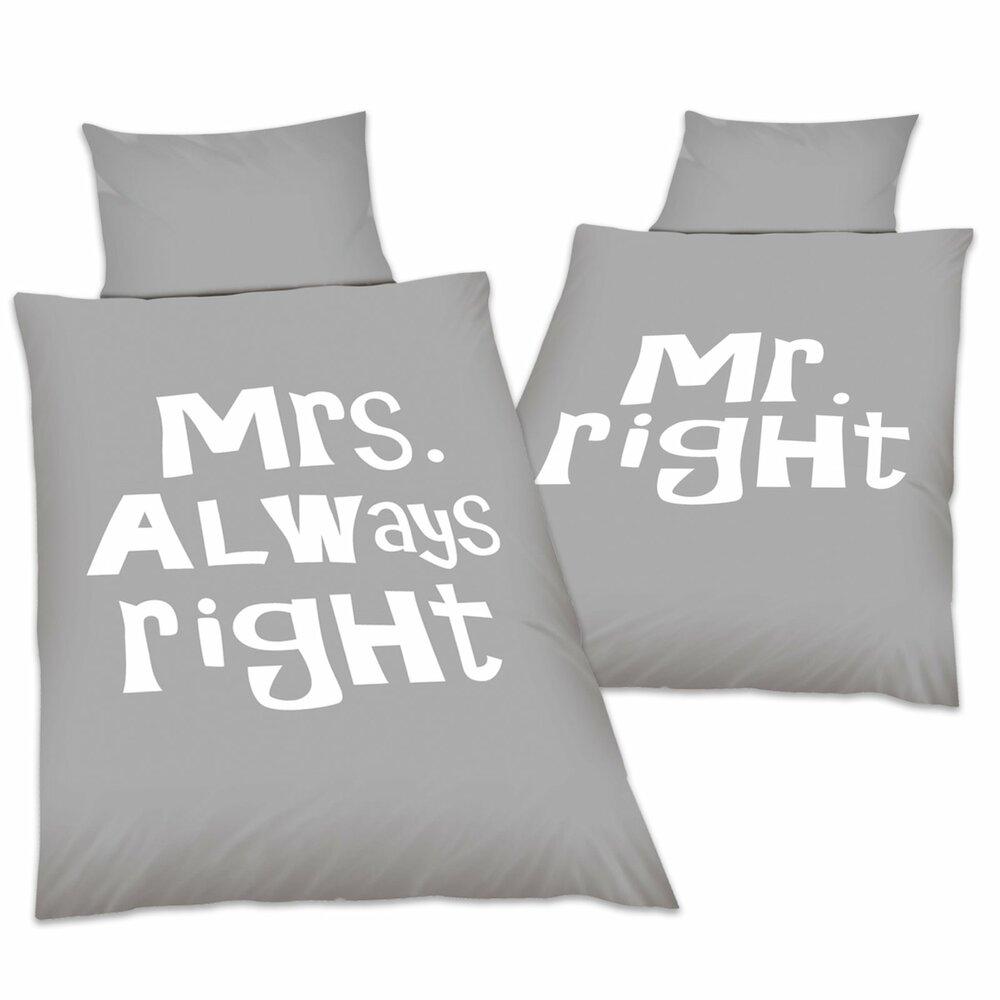 microfaser wende bettw sche mr mrs right 135x200. Black Bedroom Furniture Sets. Home Design Ideas