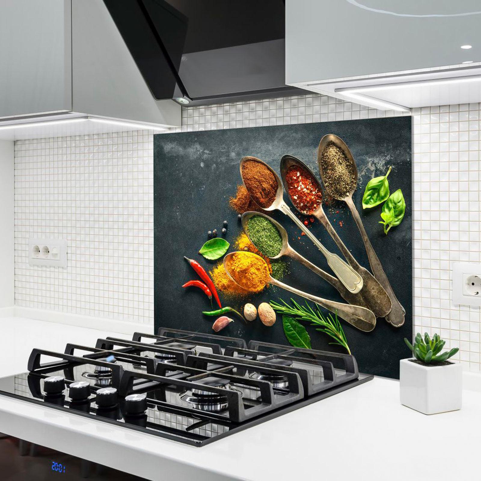 Küchenrückwand aus Glas - Gewürze - 90x65 cm