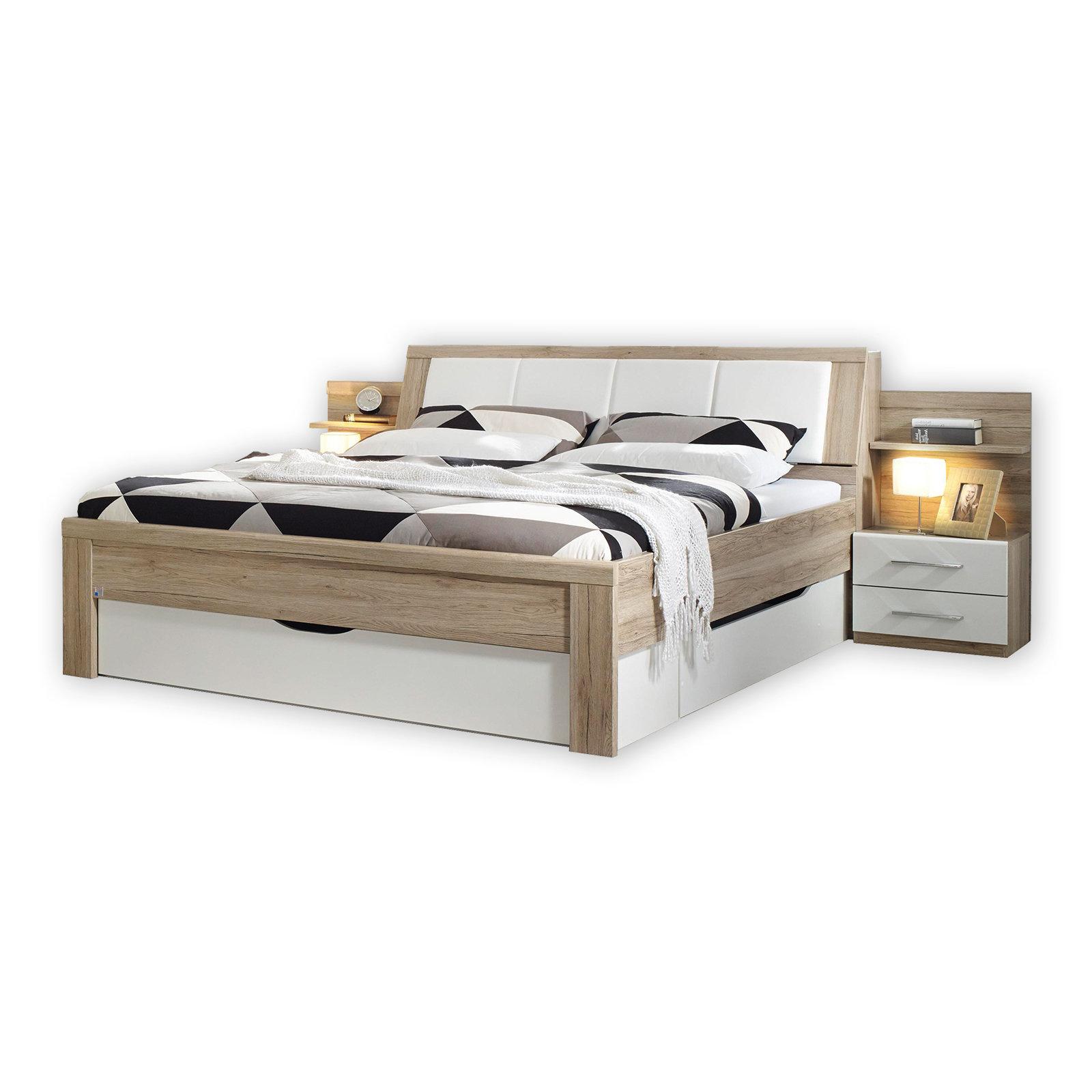 Bett San Remo Eiche Mit Nachttischen Und Staukasten 180x200 Cm